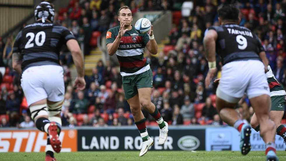 Premiership debutant Tom Hardwick on the attack for Tigers at Welford Road against Newcastle