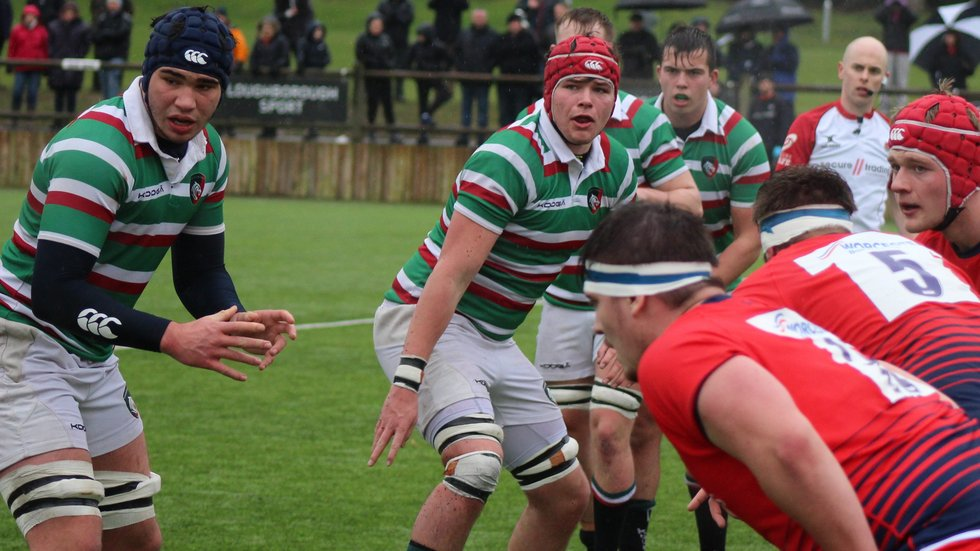 George Martin (far left) and Cameron Jordan (red scrum cap) have been named in the England Under-18 squad