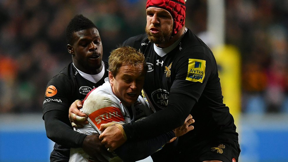 Christian Wade and James Haskell close in on Tigers centre Mathew Tait