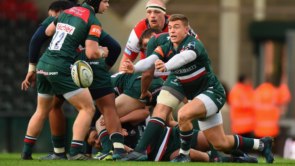Harry Simmons distributes ball in an opening cup win for Leicester Tigers
