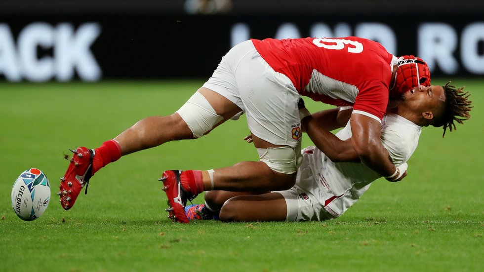 Sione Kalamafoni forces an England error with a HUGE TACKLE on Anthony Watson in their Rugby World Cup 2019 fixture in Japan