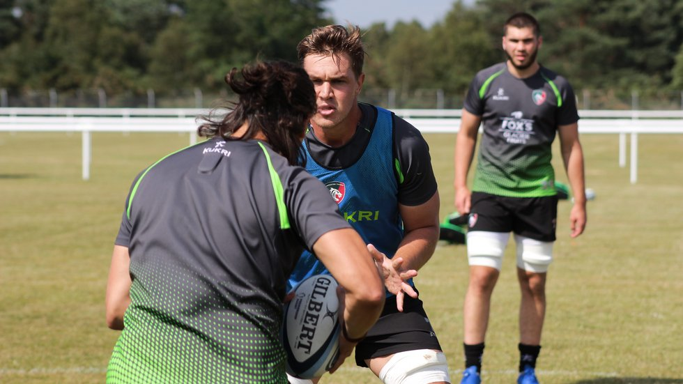 Liebenberg training alongside his new Tigers team-mates at a pre-season camp on an army barracks in Aldershot