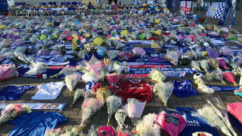 Tributes left at the memorial of LCFC Chairman Vichai Srivaddhanaprabha at King Power Stadium