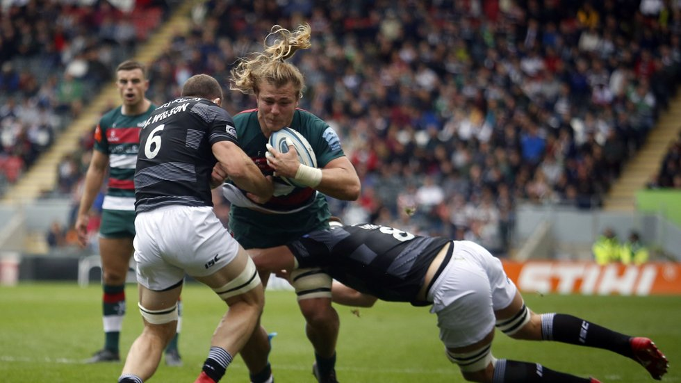 David Denton carries in attack during his first Premiership appearance at Welford Road for Tigers