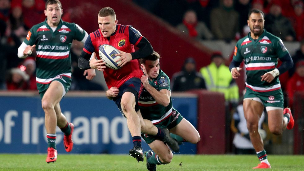 George Ford makes a covering tackle as Munster threaten a break at Thomond Park