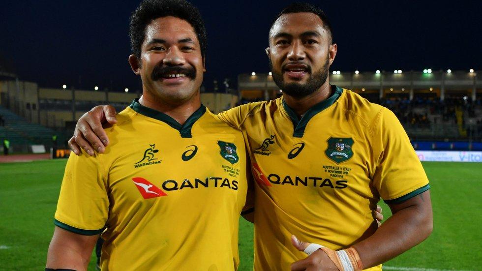 Tatafu Polota-Nau poses for a photo after Australia's win over Italy