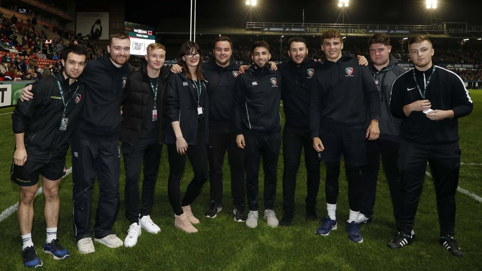 Your high-ball heroes for 2018/19; the Tigers Group Sales team, who managed seven catches during half-time of the Heineken Champions Cup fixture against Scarlets.