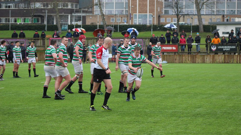 Fly-half Sam Costelow establishes field position from a penalty