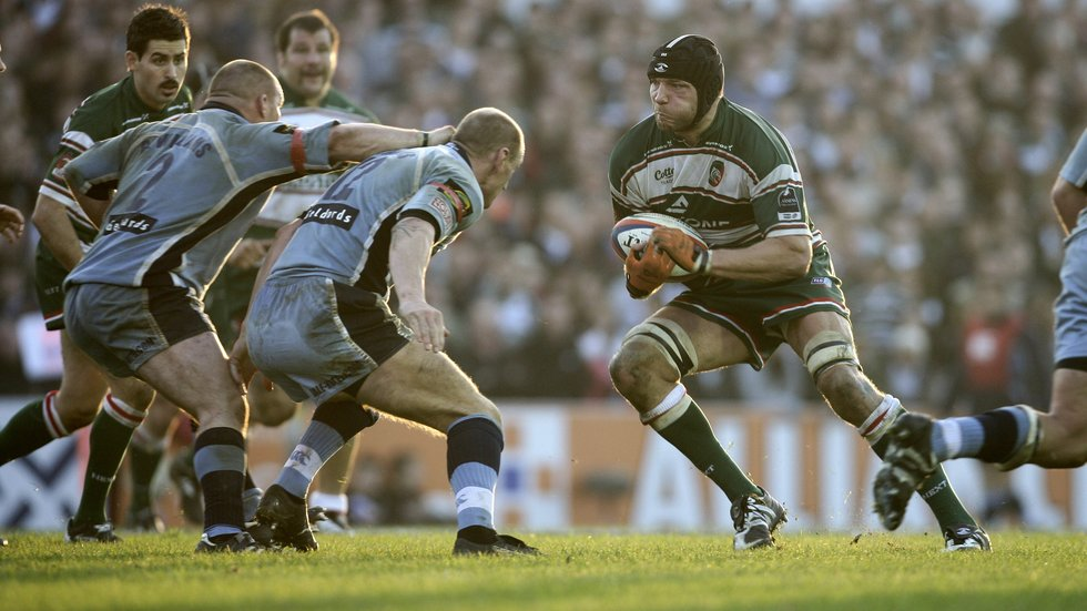 Ben Kay carries ball in a previous Anglo-Welsh Cup encounter with the Blues at Welford Road