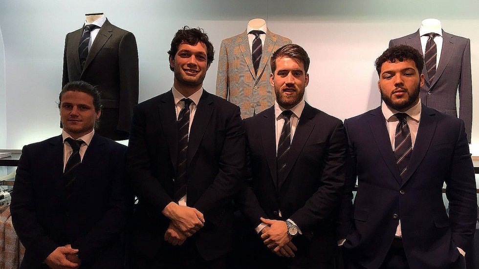 Harry Thacker, Dom Barrow, Dom Ryan and Ellis Genge joined Chester Barrie for a spring/summer preview event
