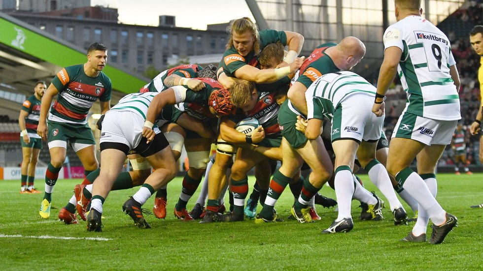 Tigers captain Tom Youngs takes the ball forward with the support of team mates in a maul against London Irish during the 2018/19 pre-season fixture at Welford Road