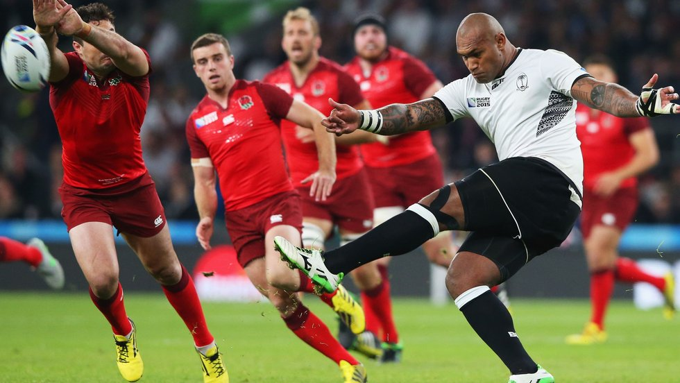 Nadolo playing against future Tigers team-mate George Ford in international rugby for Fiji at the 2015 Rugby World Cup