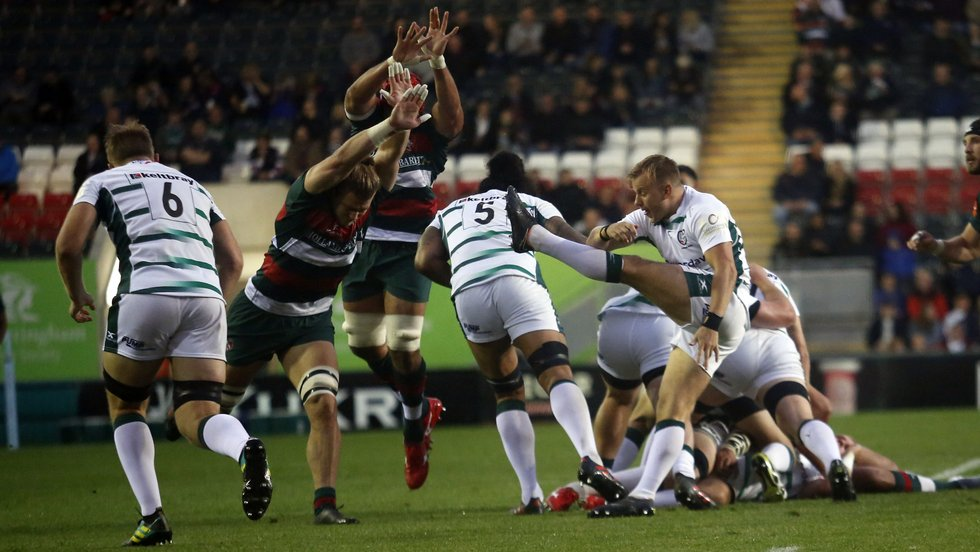 Tigers forwards putting pressure the London Irish attack at Welford Road during the 2018/19 pre-season fixture