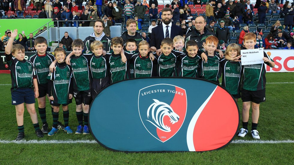 Players from North Walsham on to the Welford Road pitch as part of a Matchday Coaching Clinic