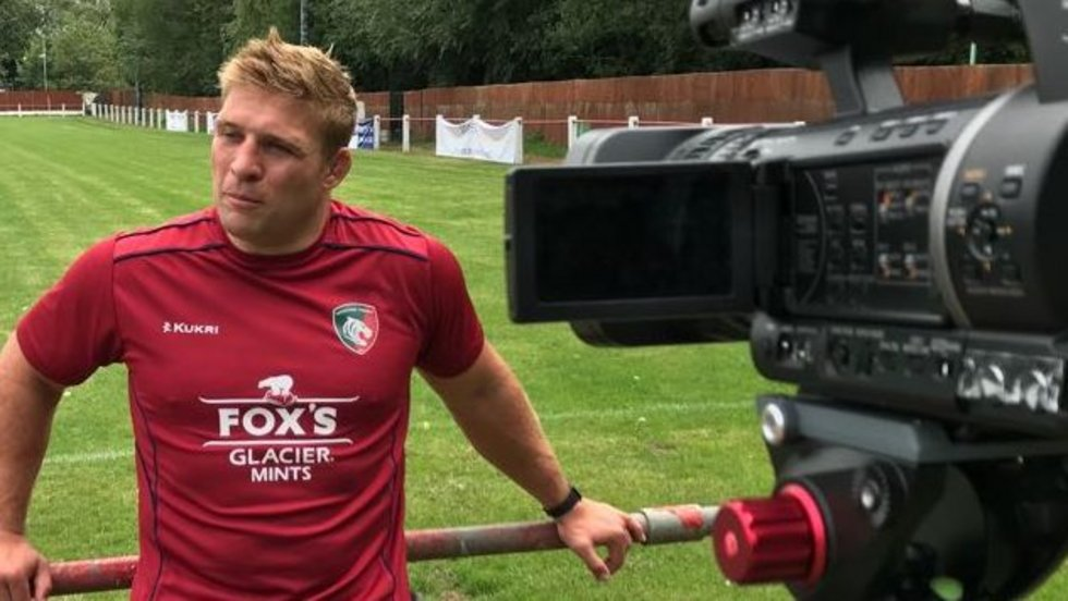 Tom Youngs speaks to LTTV at Oadby Town during the 2018/19 Leicester Tigers pre-season press day