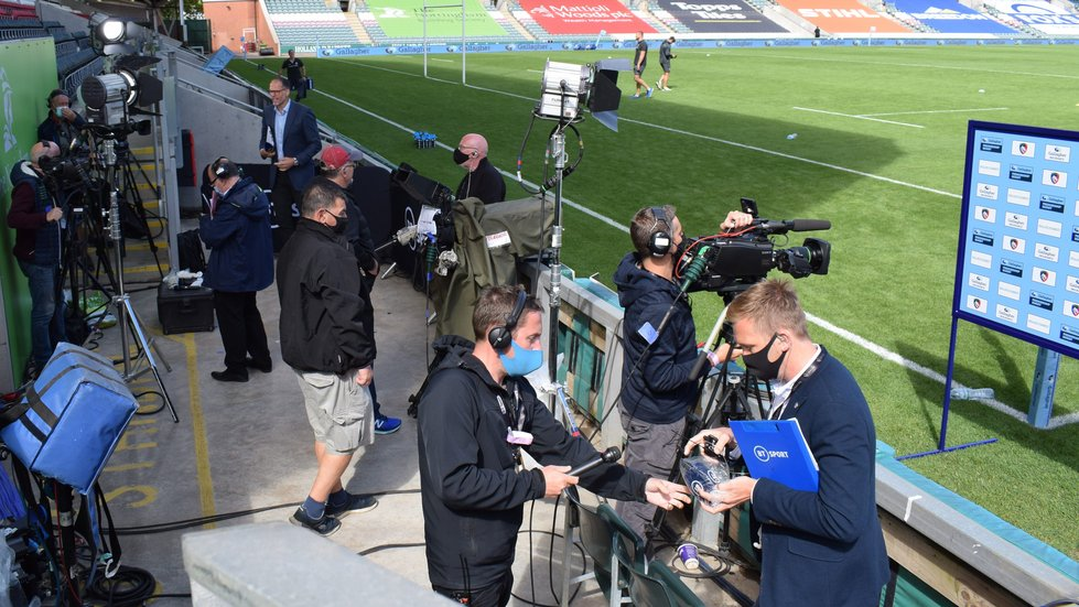 BT Sport set up shop pitch-side by the Robin Hood Stand.