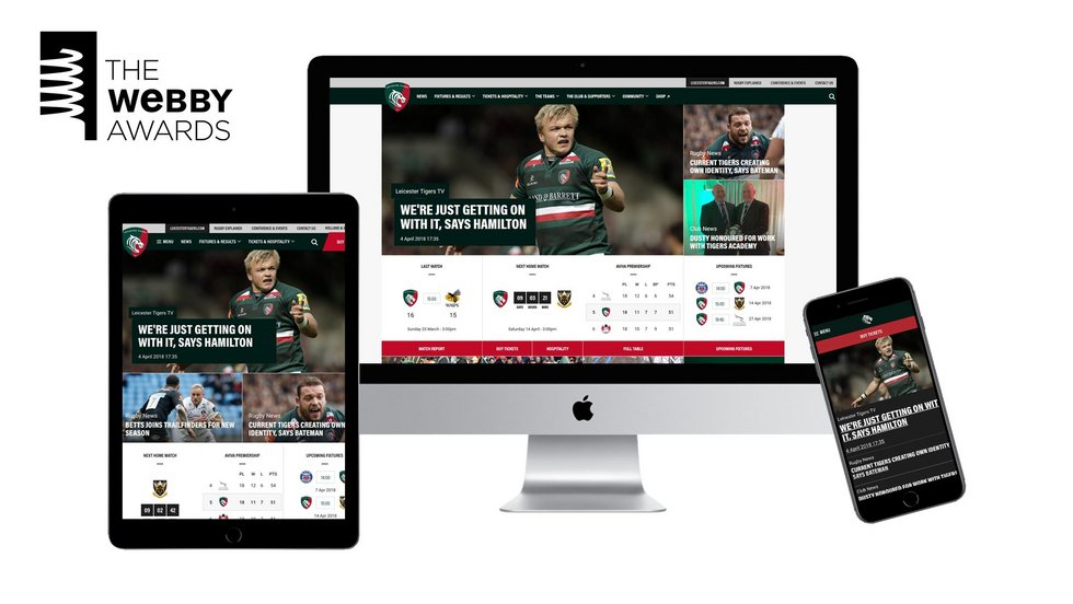 LeicesterTigers.com has been nominated for the 22nd Annual Webby Awards