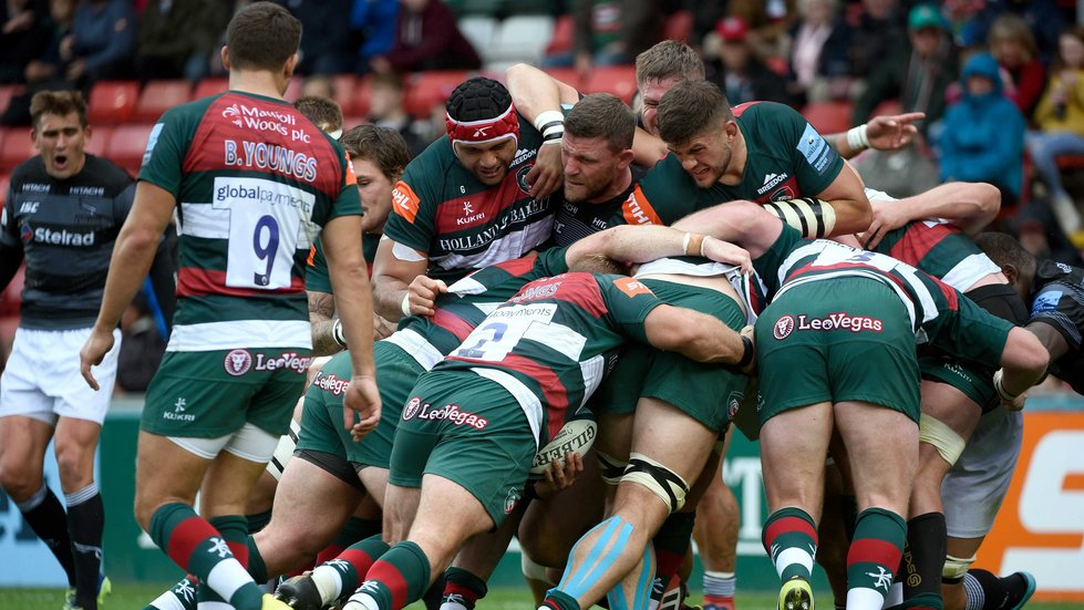 The Tigers pack marching their way forward with a driving maul against Newcastle at Welford Road