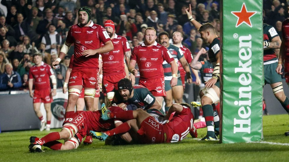 Harry Wells scores under the posts in the Tigers' triumph over the Scarlets earlier this season