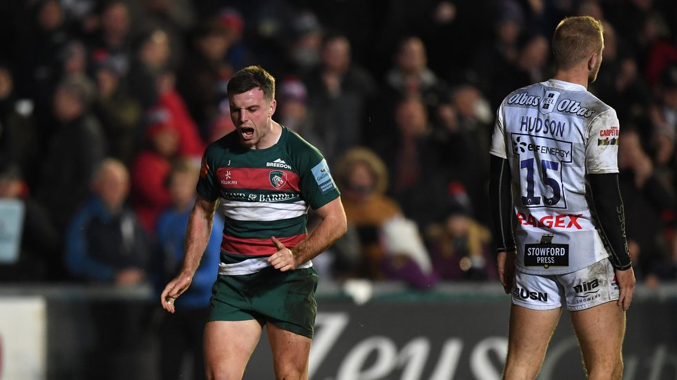 Tigers captain George Ford celebrates his try which brought a bonus point at Welford Road