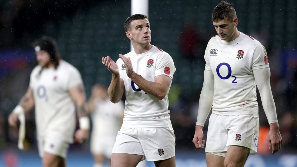 George Ford and Jonny May at Twickenham following their Test match against the All Blacks in November '18