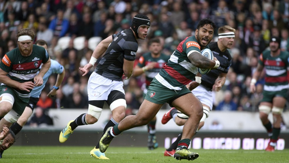 Manu Tuilagi breaks through the Falcons defence on his way to the bonus-point try at Welford Road