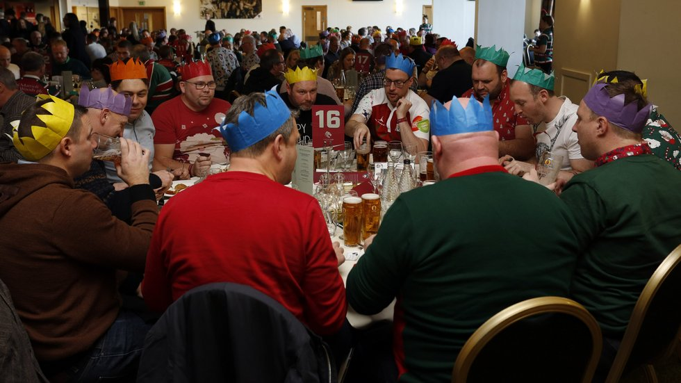 Christmas party hats all round for corporate guests at Welford Road