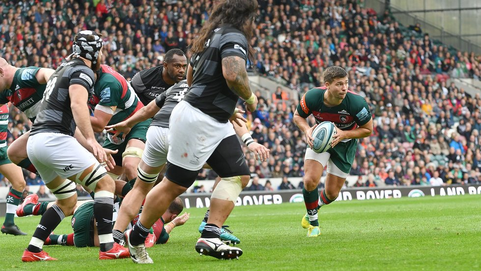 Ben Youngs weighing up his options in attack as a strong Welford Road crowd watch on