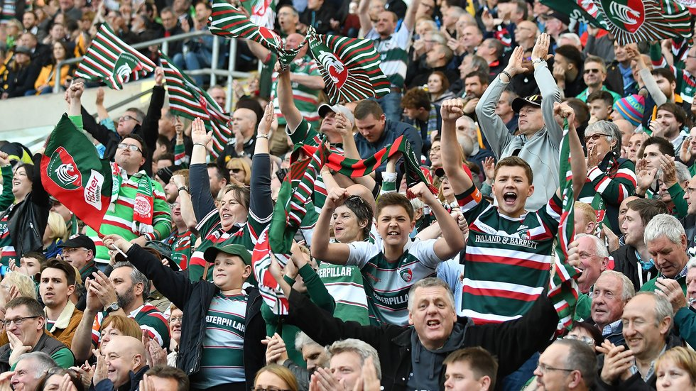 Fans celebrate during the home win against Wasps