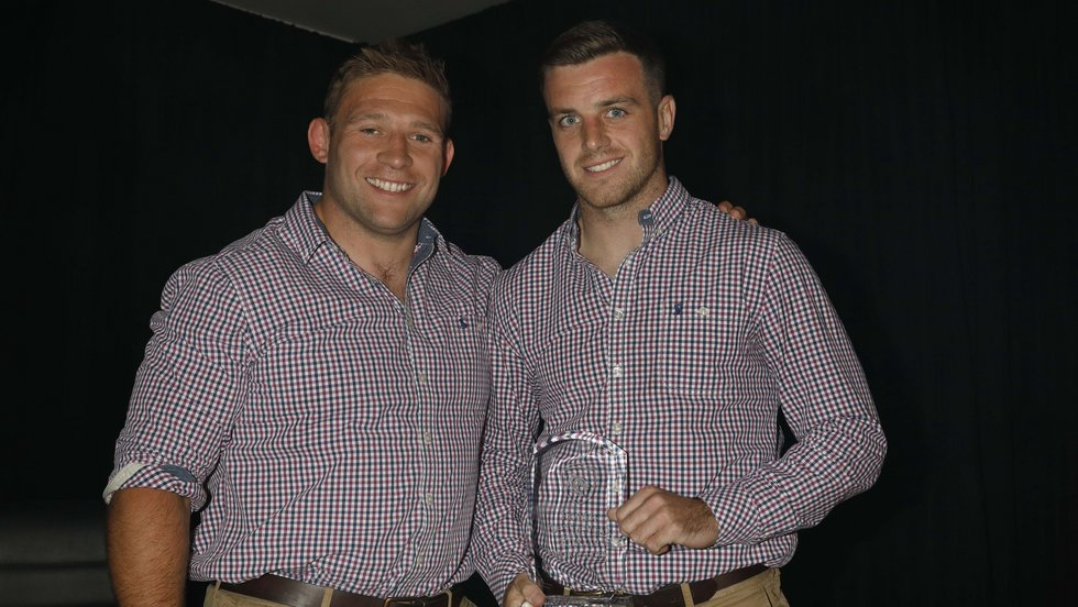 Club captain Tom Youngs presented the supporters' Player of the Year award to George Ford