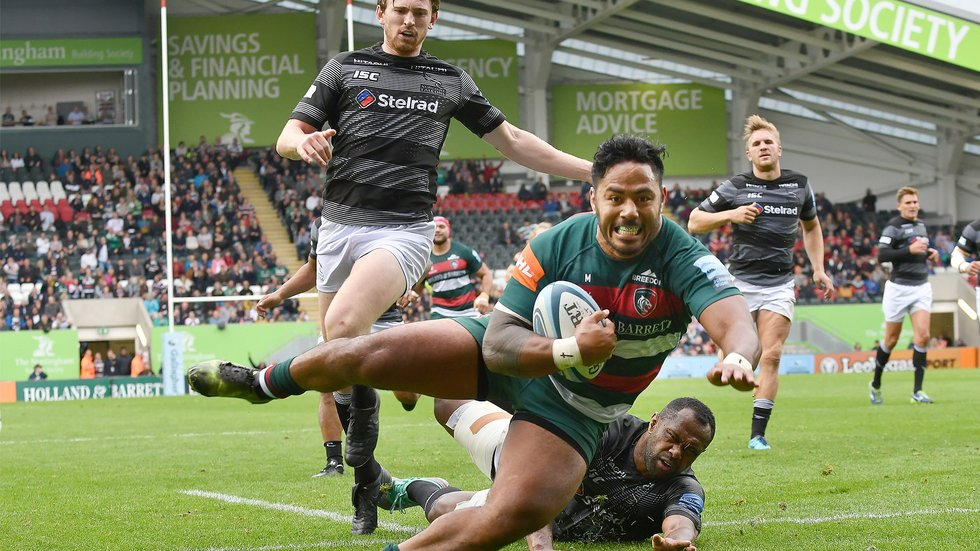 Manu Tuilagi enjoys the moment as he scores against the Falcons at Welford Road