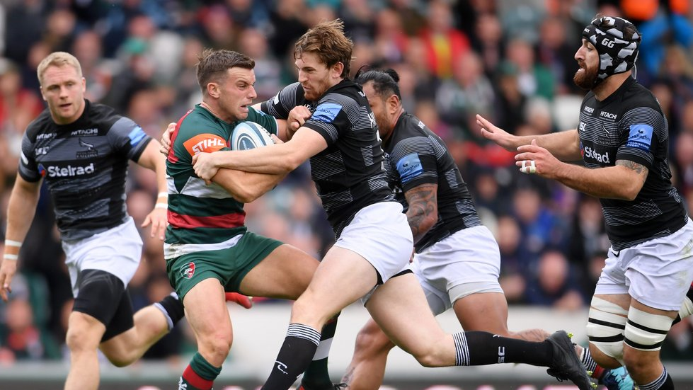 George Ford in possession but outnumbered by Falcons defenders in the Tigers win at Welford Road