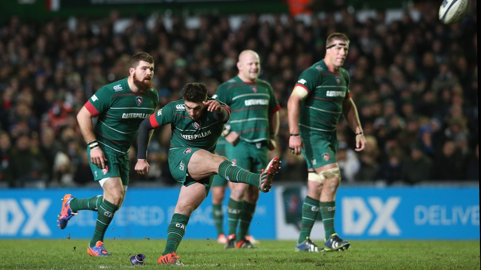 Owen Williams lands a last-gasp kick from long range to seal victory at Welford Road