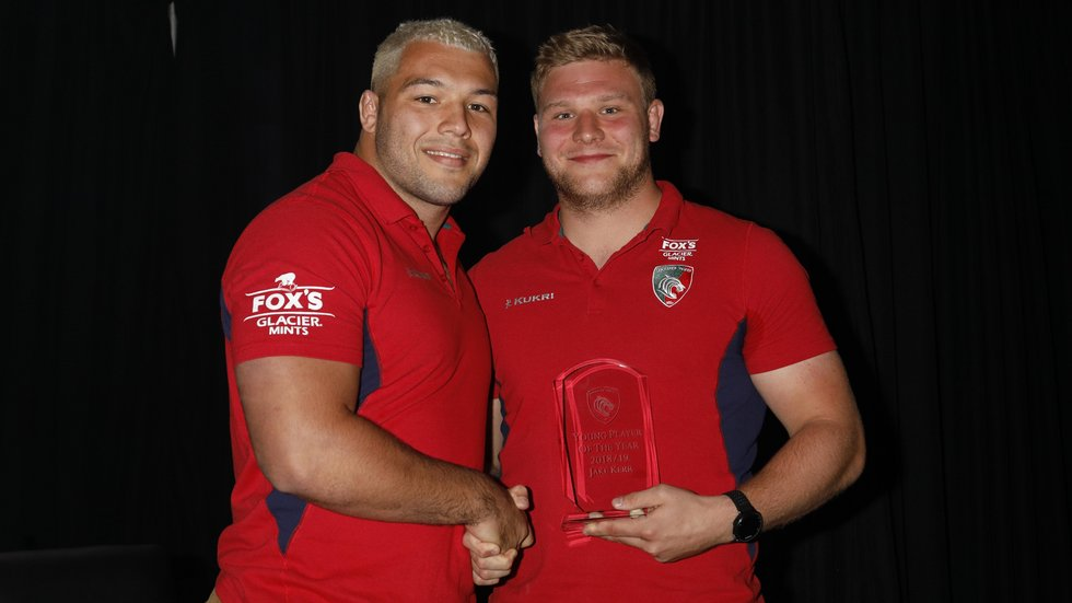 Kerr was presented with his trophy by fellow front-rower Ellis Genge, who has won the Young Player award for the past two seasons.