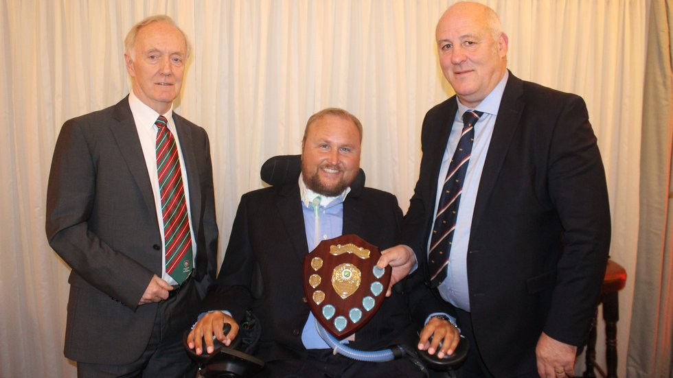 Matt Hampson (centre) joined Ian Dosser Smith as he received the Foundation award from Peter Howard (left)