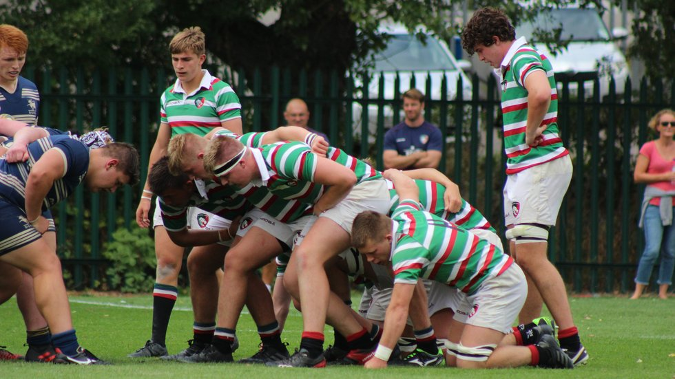 The Tigers Academy pack down for a scrum against the Bristol Academy at Oval Park