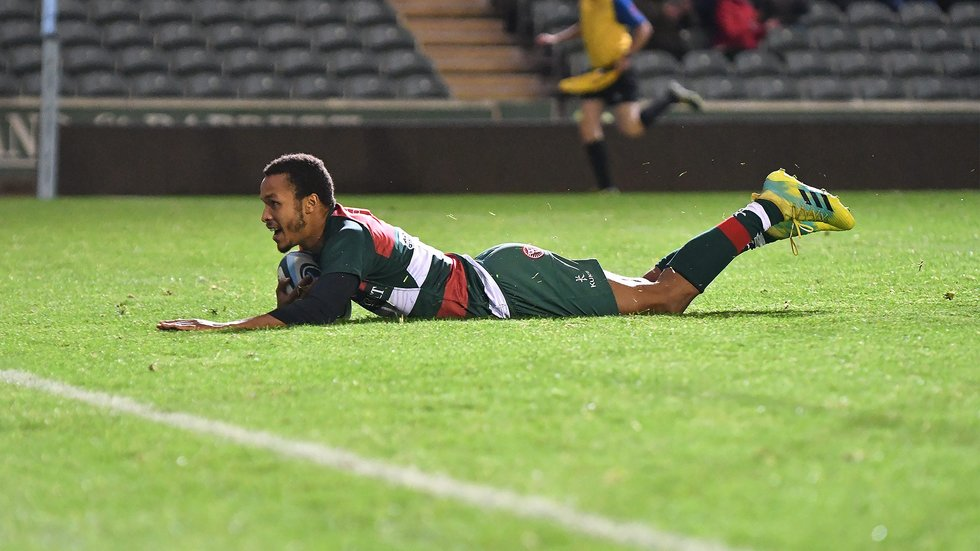Jordan Olowofela crosses for a try during the 2018/19 pre-season fixture between Tigers and London Irish at Welford Road