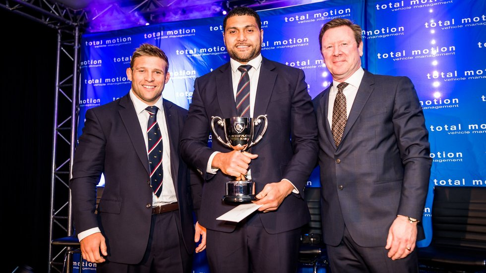 Players' Player of the Year Sione Kalamafoni receives his award from club captain Tom Youngs and Total Motion's Chris Pepper