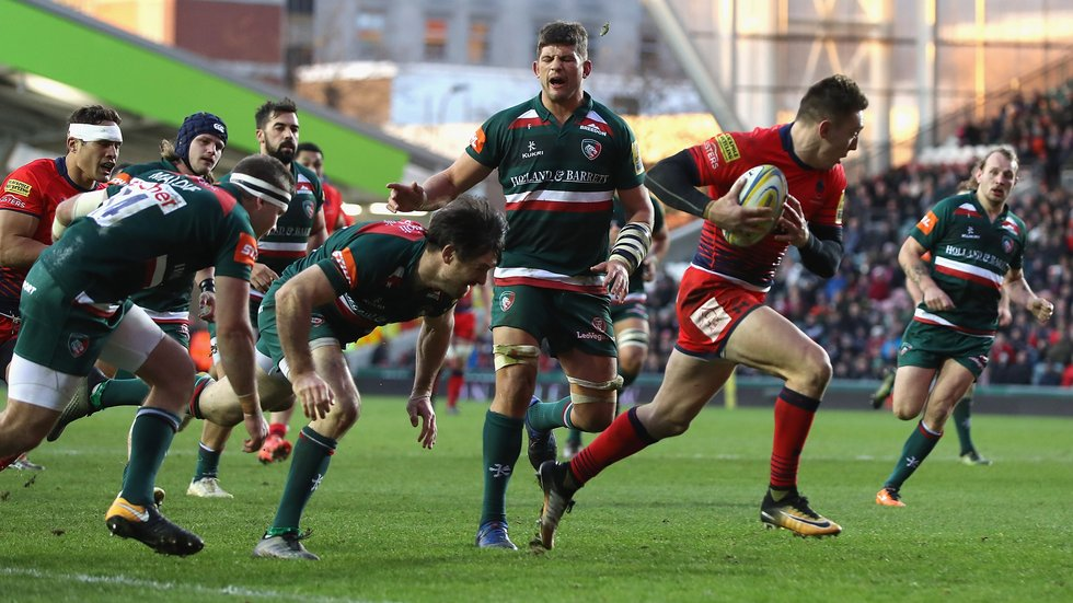 Warriors break through the Tigers defence in their first-ever win at Welford Road
