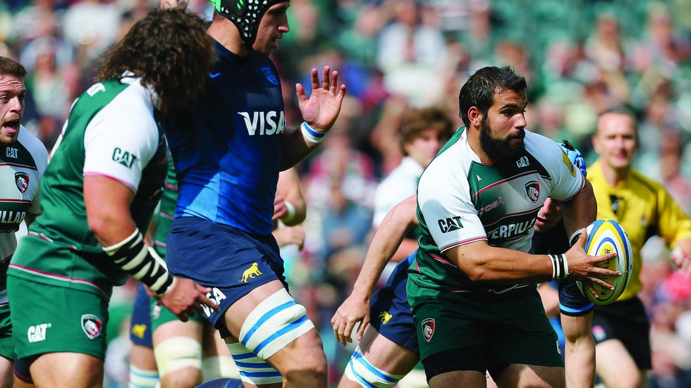 Raccardo Bruganara runs out at welford Road for the first time as an opposition player
