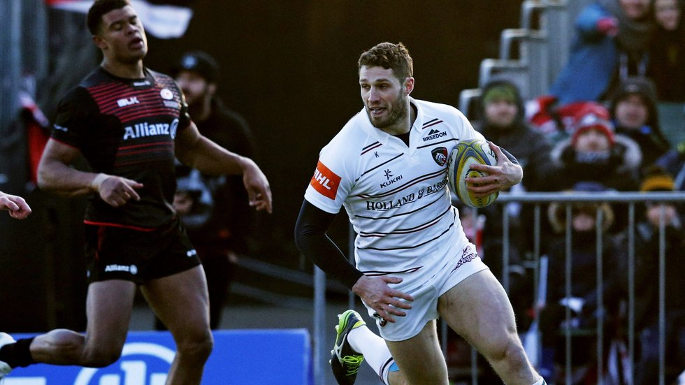 Jonah Holmes runs in the bonus-point try in the win over Saracens on Sunday