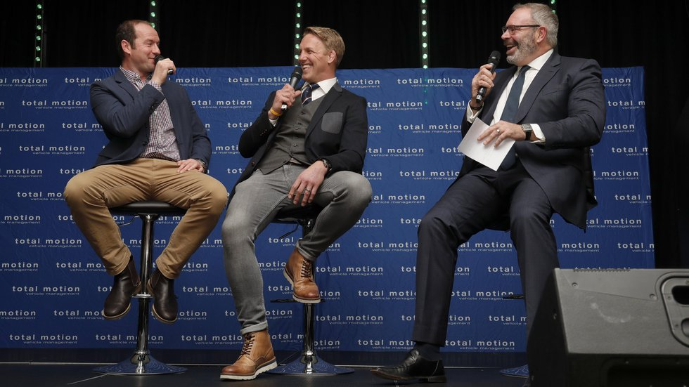 Old mates Geordan Murphy and Lewis Moody share a joke with host Matt Poole