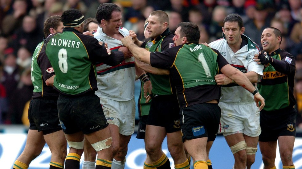 Tigers captain Martin Johnson making friends during the 2005 derby