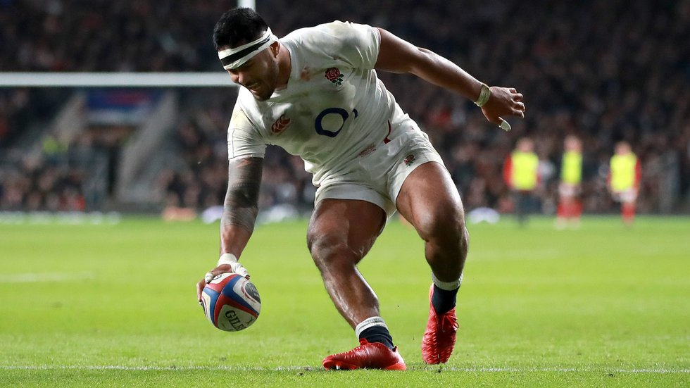 Manu Tuilagi was a tryscorer for England but then sent off in the second half