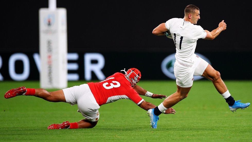 Jonny May leaves a Tongan defender behind in the Rugby World Cup 2019 fixture in Japan