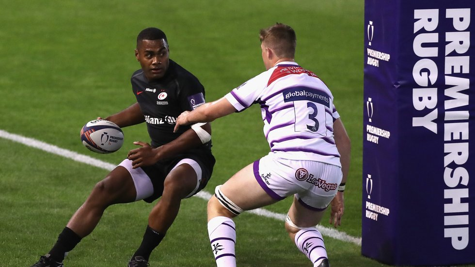 Tigers forward Thom Smith (No3) busy in defence during the pool match against Saracens