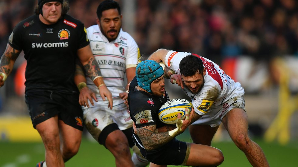 Adam Thompstone closes in to stop Exeter wing Jack Nowell during last season's trip to Sandy Park