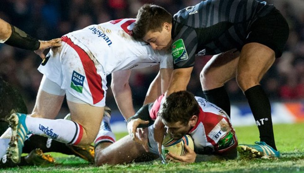 Scrum-half Ben Youngs scraps for the ball in a previous European Cup meeting with pool rivals Ulster