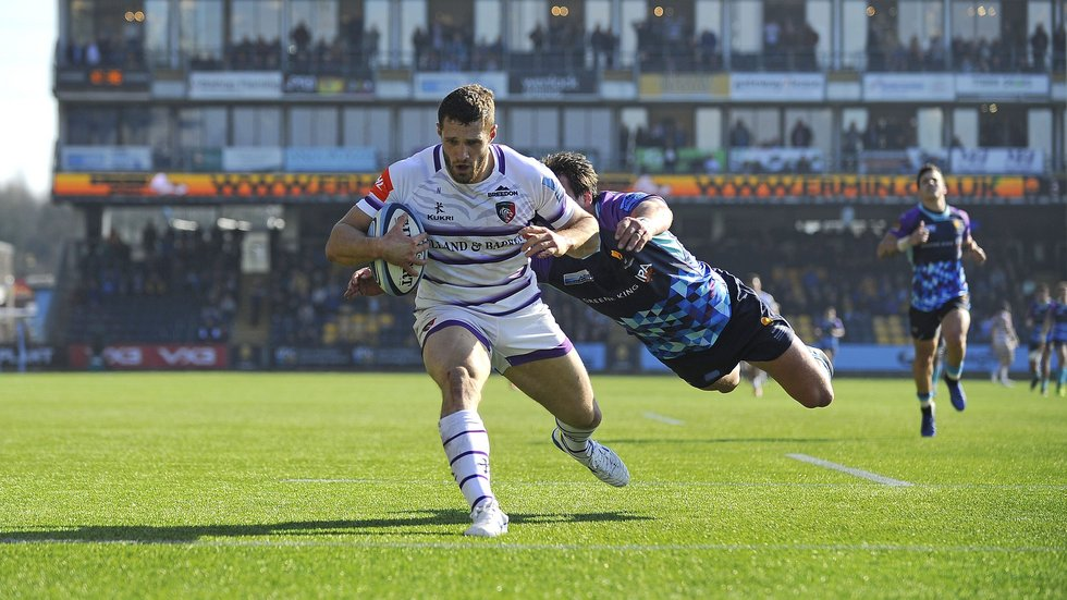 Jonah Holmes was the Tigers tryscorer in a Premiership defeat at Worcester last season