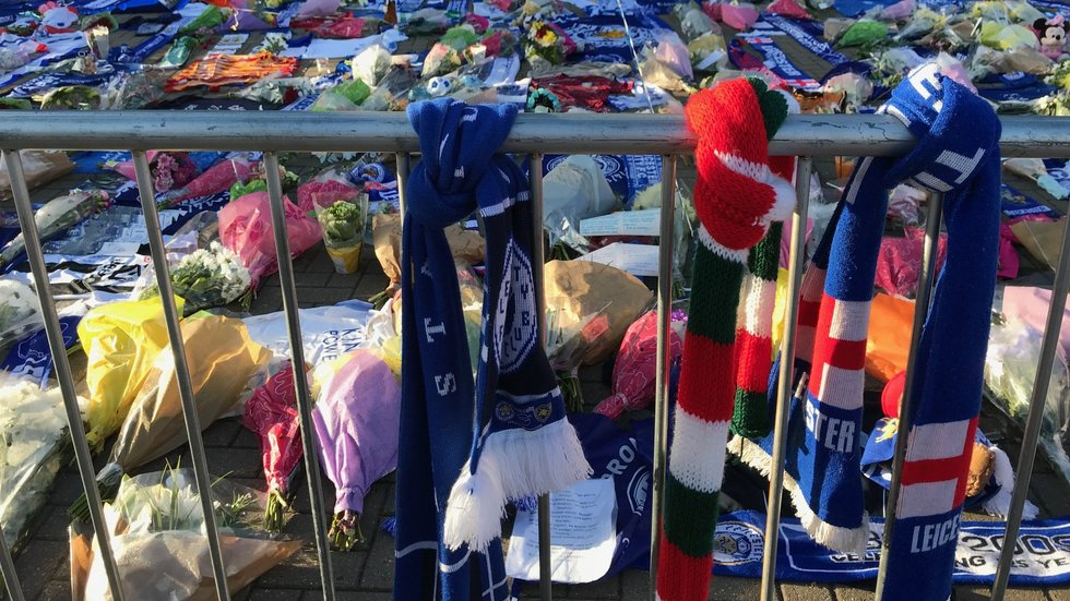 A Tigers scarf among the many tributes left outside the King Power Stadium following the death of LCFC Chairman Vichai Srivaddhanaprabha